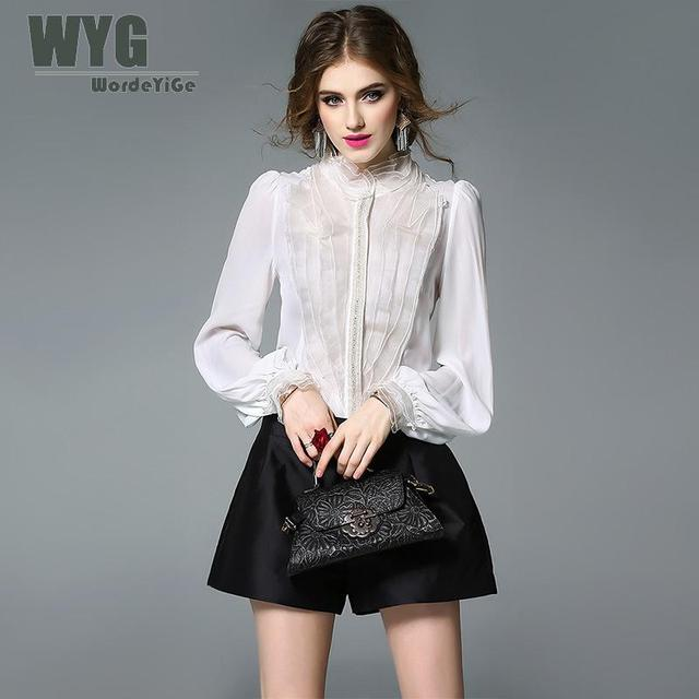 56871d63111f7 Ladies White Silk Shirt 2017 Autumn OL High Quality Layered Ruffle Front  Crystal Chains Lantern Long Sleeve Blouses For Women