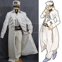 Jojo Bizarre Adventure Jotaro Kujo Cosplay Costume Bianco Vestito Uniforme del Costume di Halloween Su Ordine Qualsiasi Formato