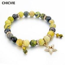 Браслеты и браслеты chicvie из натурального камня золотого цвета