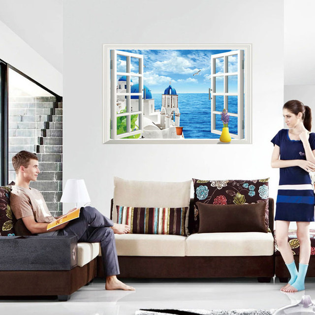 Creative Home Decor 3d Wall Stickers Fake Window Style Beach House