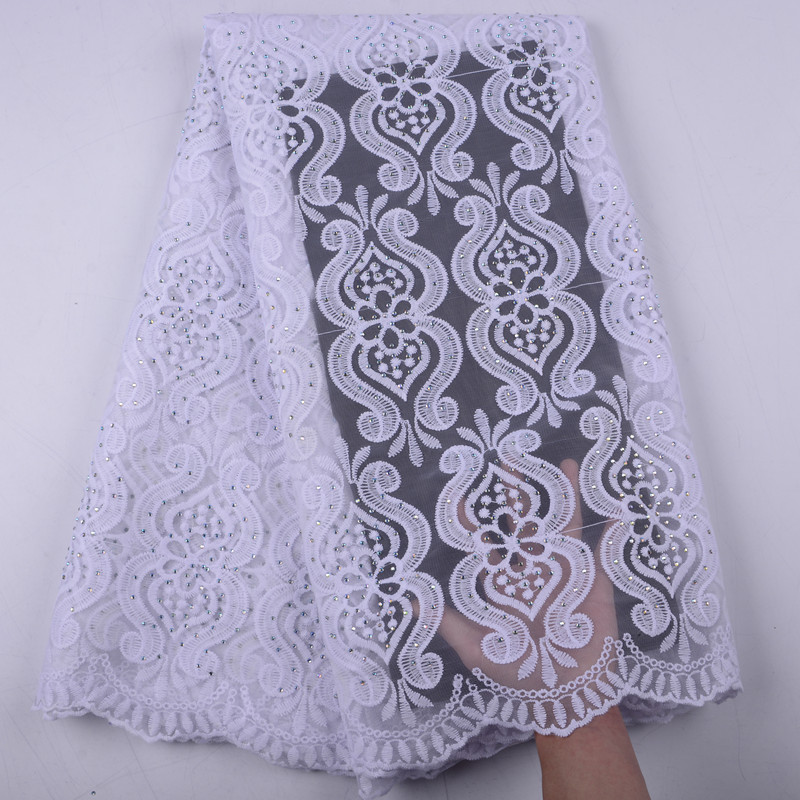 French Net Lace Fabric 2019 Latest African Lace Fabric With Rhinestones Embroidery Mesh Tulle Lace Fabric
