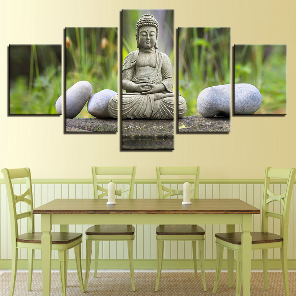 Printed Painting Modular 5 Panel Buddha Wall Picture Poster Fashion Canvas Frame Art For Living Room Home Decoration Artwork