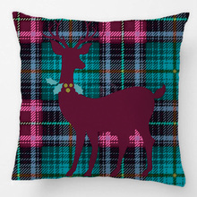 Xmas Deer Holly Wreath GreenBlue Tartan Plaid Throw Pillow Case Decorative Cushion Cover Pillowcase Customize Gift For Car Sofa