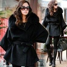 Fashion Nice New European And American Fashion Luxury Fox Fur women's Autumn Winter Bat Sleeve Black Wool Overcoats S1562