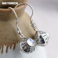 GQTORCH Real 925 Sterling Silver Natural Gemstone Dangle Earrings For Women Vintage Design Blue Moonstone Earrings