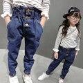 Kindstraum девушки джинсы весна и осень дети Высокое качество твердые широкий джинсовые брюки свободного покроя джинсы, Hc619