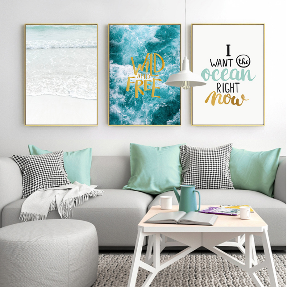 Nordic Seascape Inspiring Quotes Abstract Canvas Painting