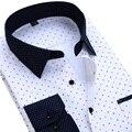 2017 Marca Blanca Impresa Turn-Cuello de La Manera de Los Hombres Camisa de Manga Larga Camisa Casual de Negocios Camisas Florales 4XL Camisa Sociales M469