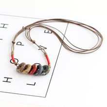 Chinese Style Colorful Ceramic Women Statement Necklace 100% Handmade Sweater Chain Female Fashion Vintage Jewelry 454