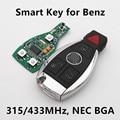 (Para el BENZ) Coche Inteligente 3 + 1 Botones Clave Remoto 315 MHz 433 MHZ para Mercedes NEC Chip stytle BGA 2000 +