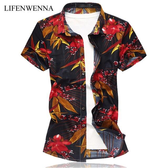 New Summer Men's Shirt 2019 Fashion Print Short Sleeve Shirt Mens Clothes Trend Casual Slim Fit Printing Shirt Men Plus Size 6XL