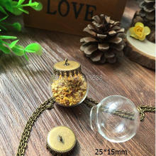 Free shipping 20sets/lot 25*15mm(opening) glass globe & bronze base set glass dome bubble vial pendant diy glass bottle orbs