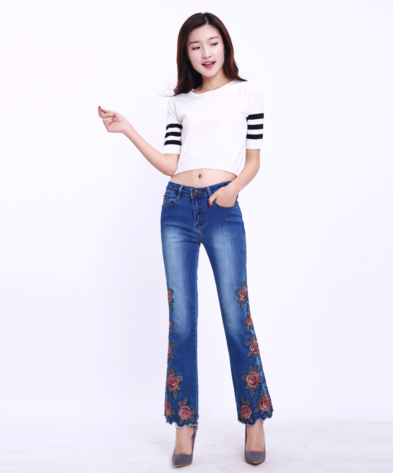 KSTUN FERZIGE Fashion Women Jeans with Embroidery Floral Design Flare Pants Bell Bottoms Boot Cut Slim Business Woman Sexy Ladies 36 11
