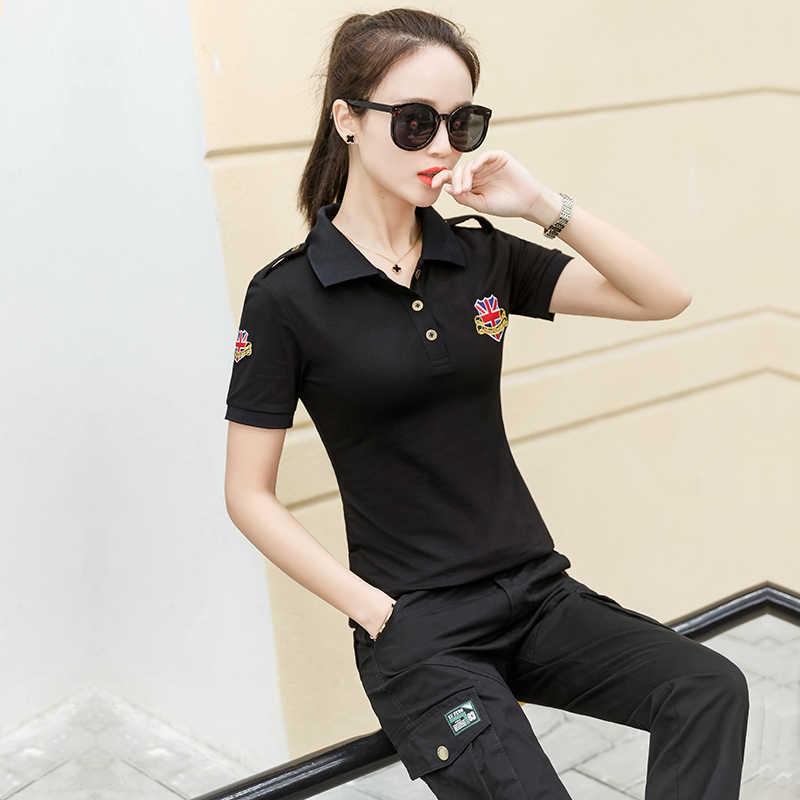 新しい女性ポロシャツ 2019 夏半袖刺繍カジュアル女性スリムトップ M02