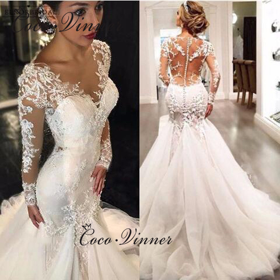 Full Sleeves Illusion Back Lace Mermaid Wedding Dresses Plus Size Custom Made Wedding Dress 2019 Embroidery Bride Dress W0037
