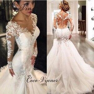 Image 1 - Full Sleeves Illusion Back Lace Mermaid Wedding Dresses Plus Size Custom Made Wedding Dress 2020 Embroidery Bride Dress W0037
