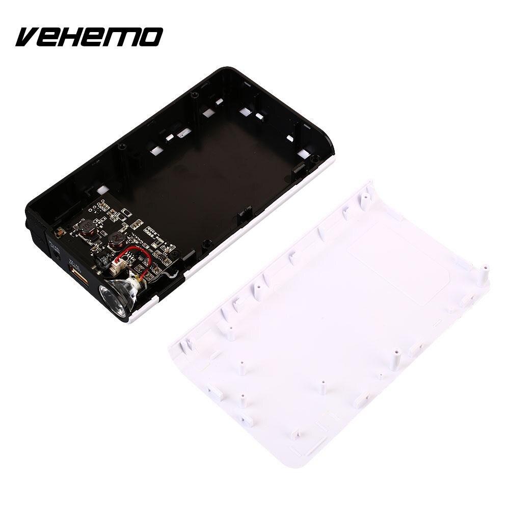 Vehemo White 12V1A Jump Starter Kit Power Bank Car Jump Starter Kit Power Kit DIY Portable Charger Booster with LED Light