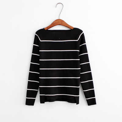 Casual Collar Black And White Striped Sweater Female Autumn Winter 2016 New Fashion Long Sleeve Wool Pullover Women E0543