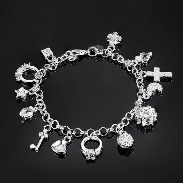 נחמד תכשיטי נשים צמיד כסף תכשיטי אופנה שרשרת יד פנינת מתנה PS559