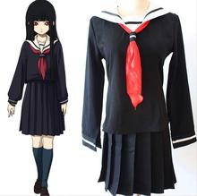 Jigoku Shoujo Futakomori Hell Girl Enma Ai School Uniform Cosplay Costume Supia-yisol Girls Full Set Sailor Suit