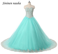 Quinceanera Dresses Turquoise Long Prom Party Dress Appliques Beaded Tulle Ball Gown Sweet 16 Dresses Vestidos De 15 Anos 85