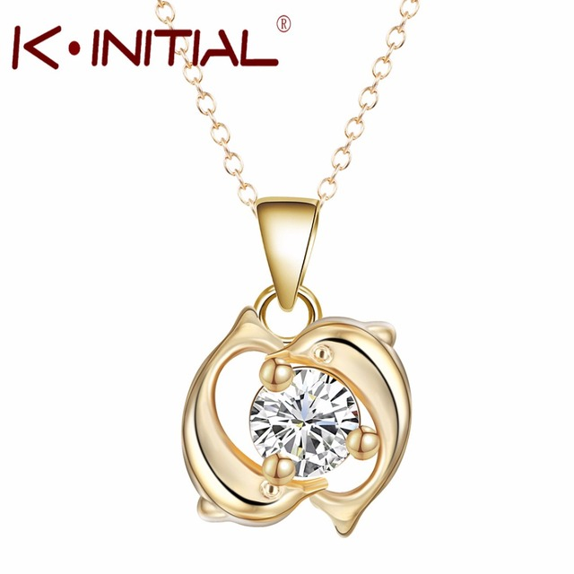 Kinitial 1pcs hot fashion cute ocean dolphin necklaces gold double kinitial 1pcs hot fashion cute ocean dolphin necklaces gold double dolphins pendant necklace charm zircon chain aloadofball Gallery