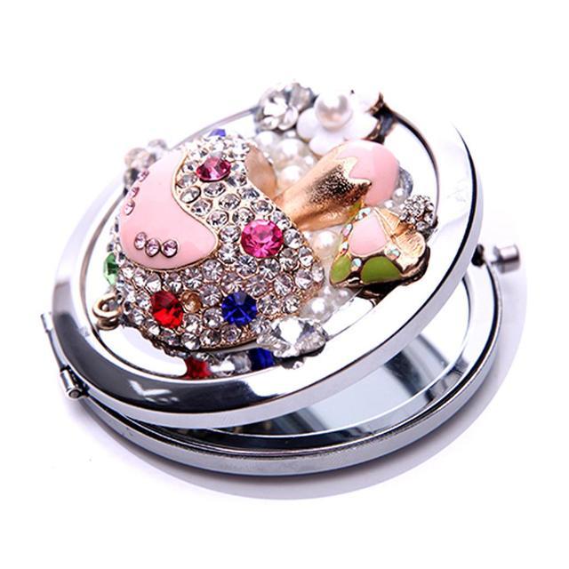 Round Rhinestone Beads Handbag Pocket Mirror Makeup Purse Compact Cosmetic