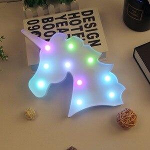 Image 5 - Gece ışık Unicorn lamba LED Unicornio kafa çocuk gece lambası 3D renkli lambalar yeni yıl hediye için parti masa dekorasyon