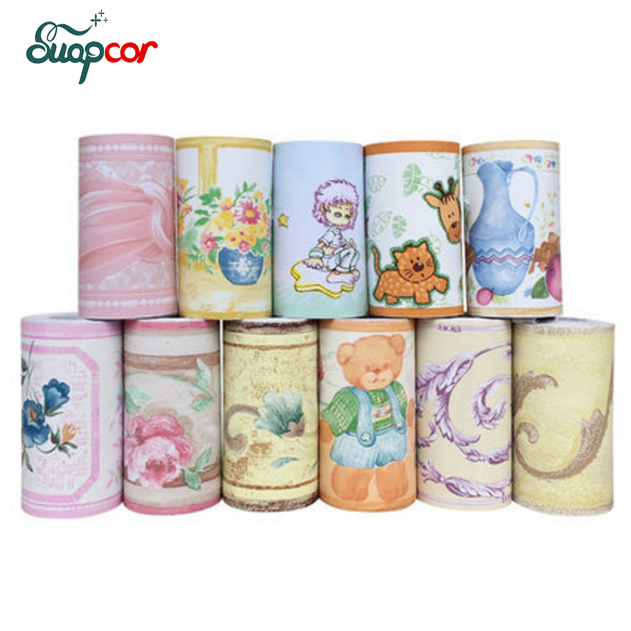 PVC Self Adhesive Wallpaper Border Kitchen Bathroom Skirting Line Sticker Removable Pastoral Tile Wall Stickers Waterproof Decor