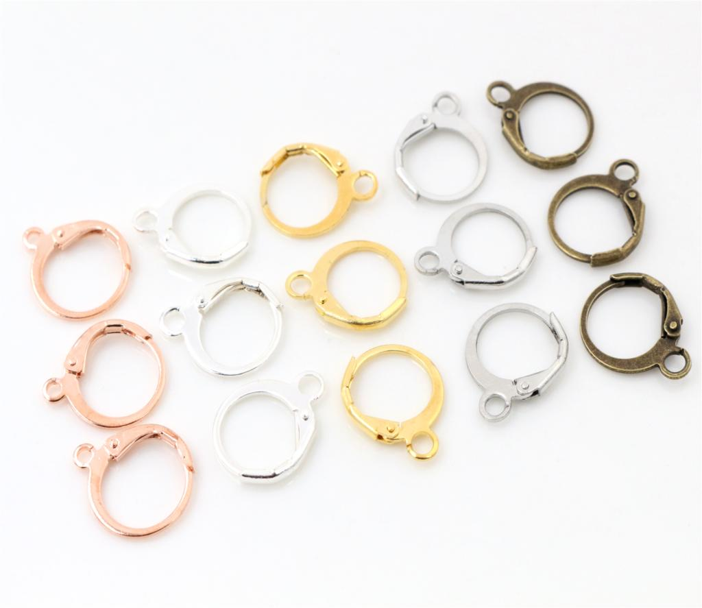 14x12mm 30pcs High Quality Silver And Rose Gold Bronze Rhodium Plated Brass French Earring Hooks Wire Settings Base Whole Sale