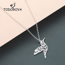 Todorova Origami Animal Hummingbird Necklace Men Jewelry Flying Bird Long Necklace Bird Lover Gifts for Women Statement Necklace(China)