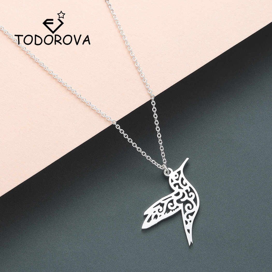 Todorova Origami Animal Hummingbird Necklace Men Jewelry Flying Bird Long Necklace Bird Lover Gifts for Women Statement Necklace