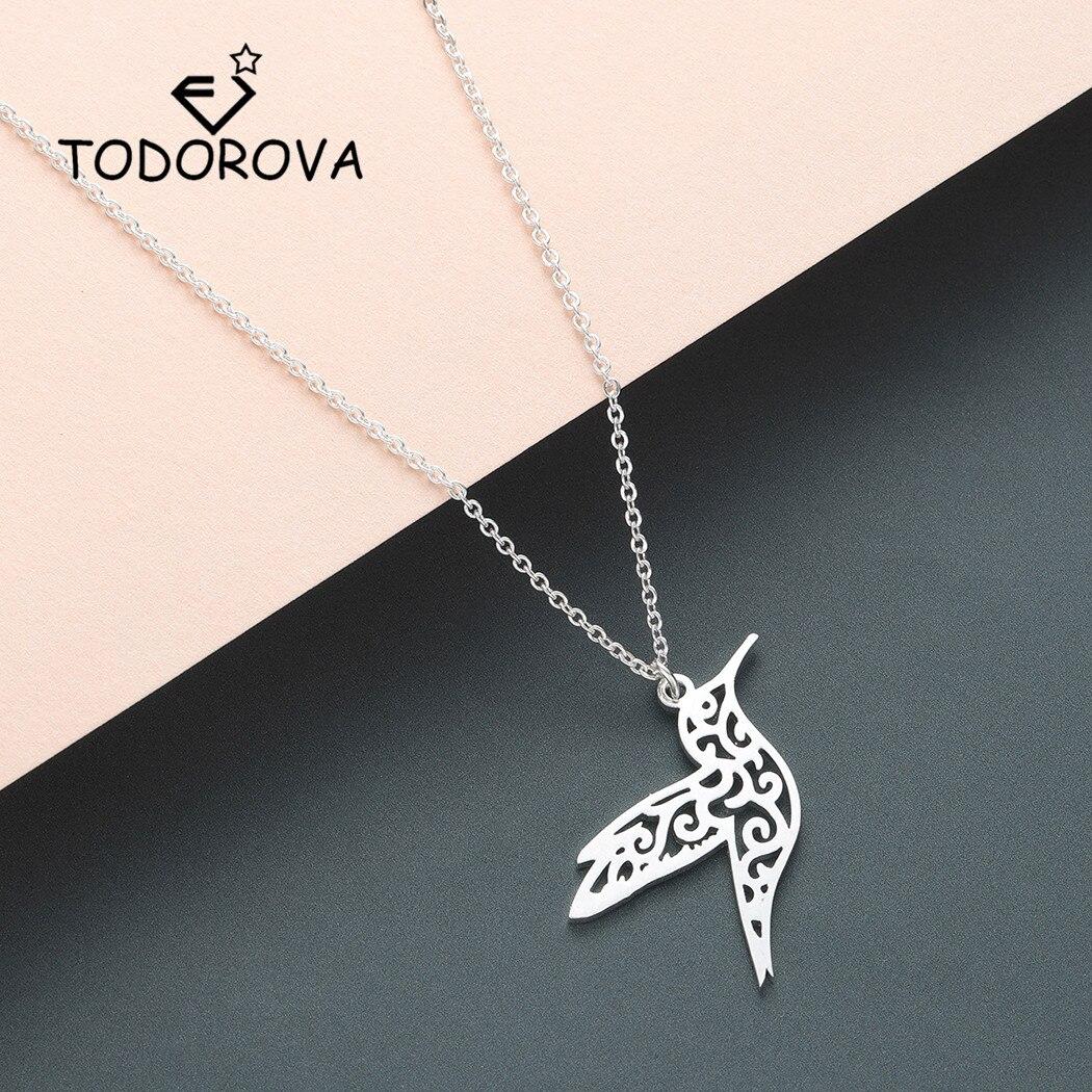 Todorova Origami Animal Hummingbird Necklace Men Jewelry Flying Bird Long Neckla
