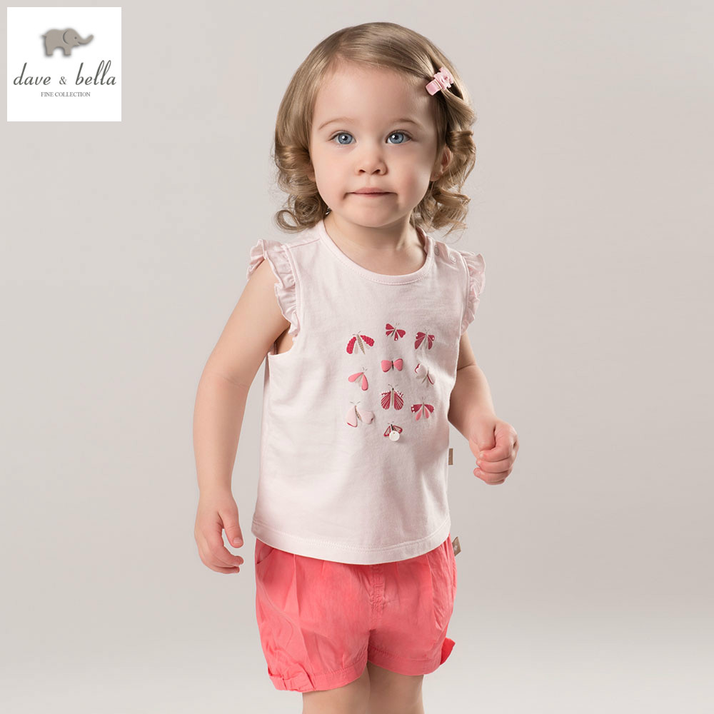 DB4863 dave bella summer baby girls clothing sets children lovely sets toddle cloth kids sets baby children sets fancy clothes