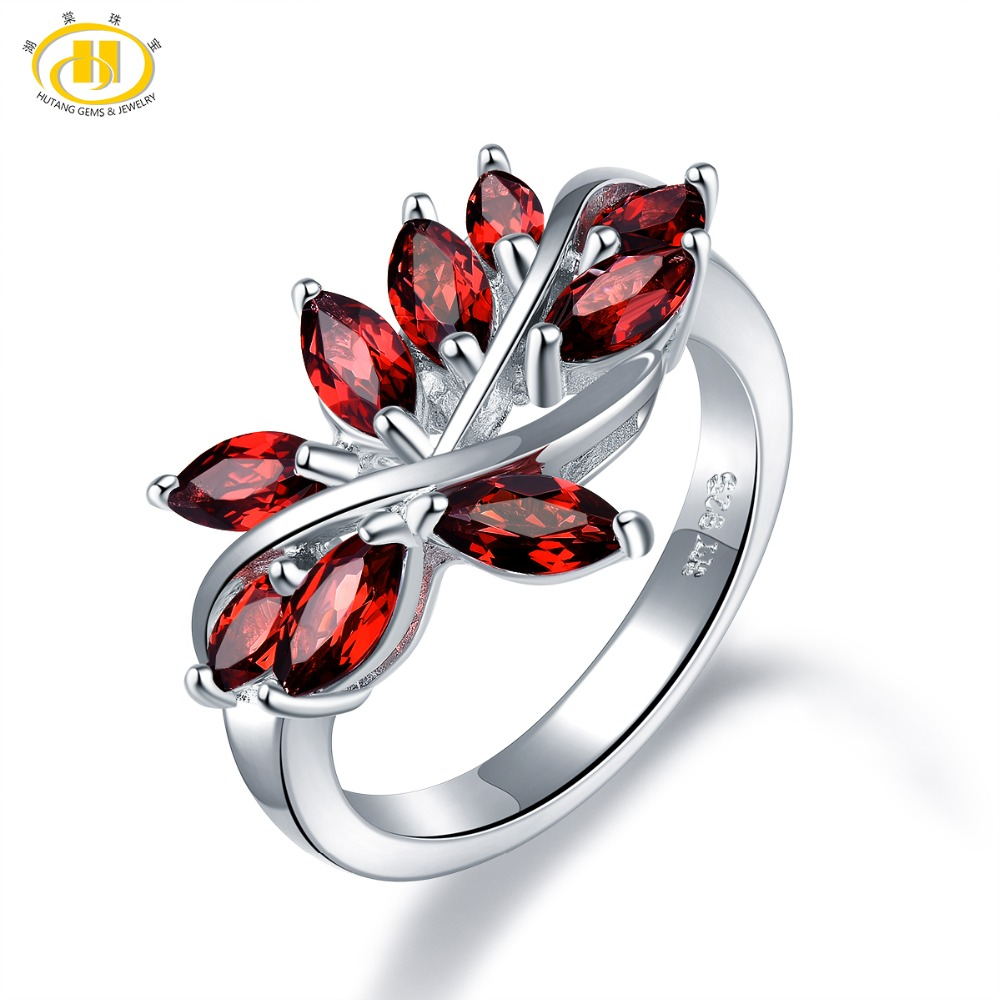 Hutang Garnet Wedding Ring Natural Gemstone 925 Sterling Silver Flower Rings Fine Elegant Leaf Jewelry for Womens Best Gift NewHutang Garnet Wedding Ring Natural Gemstone 925 Sterling Silver Flower Rings Fine Elegant Leaf Jewelry for Womens Best Gift New