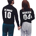 Valentine Shirts Woman Cotton King Queen Funny Letter Print Couples Leisure T-shirt Man Long Sleeve O neck harajuku t shirt