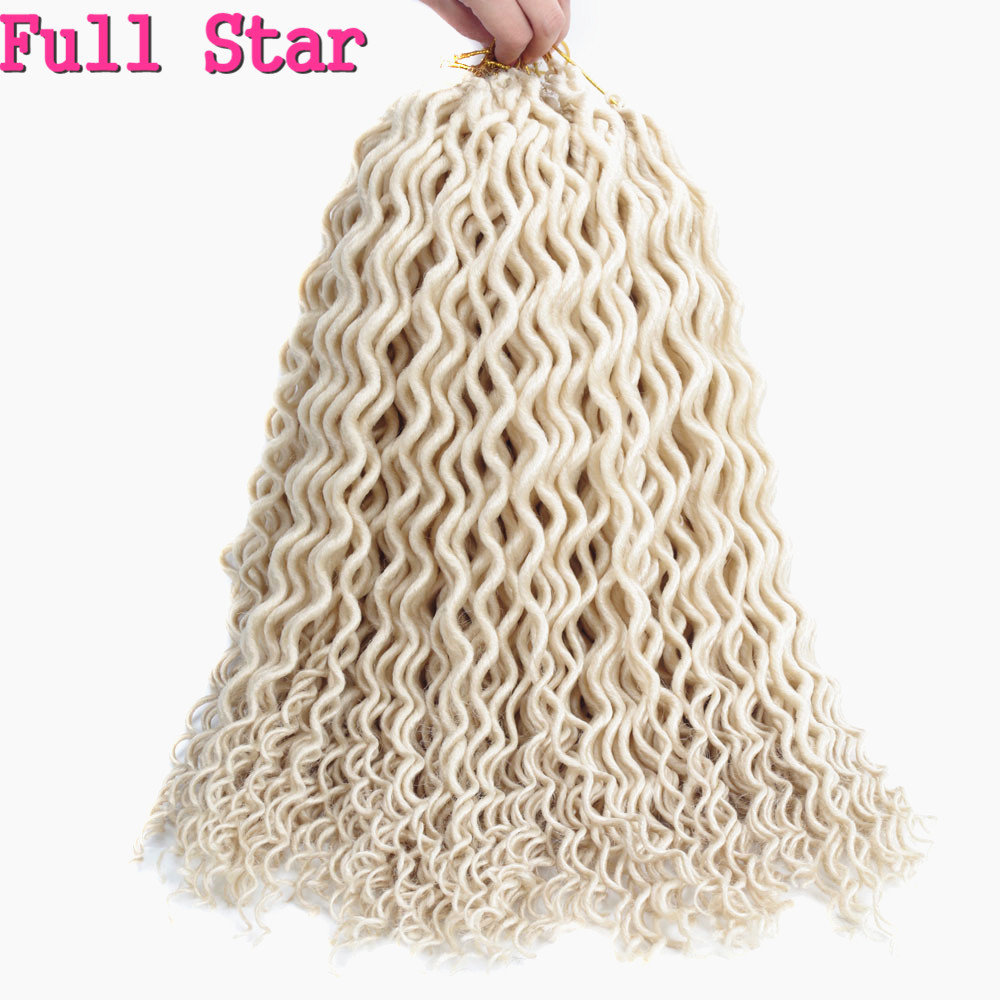 """Полный Звезда 1"""" Faux locs Curly заканчивается 24 корни вязанная косами чёрный; коричневый Цвет химическое плетение волос для Для женщин - Цвет: #613"""