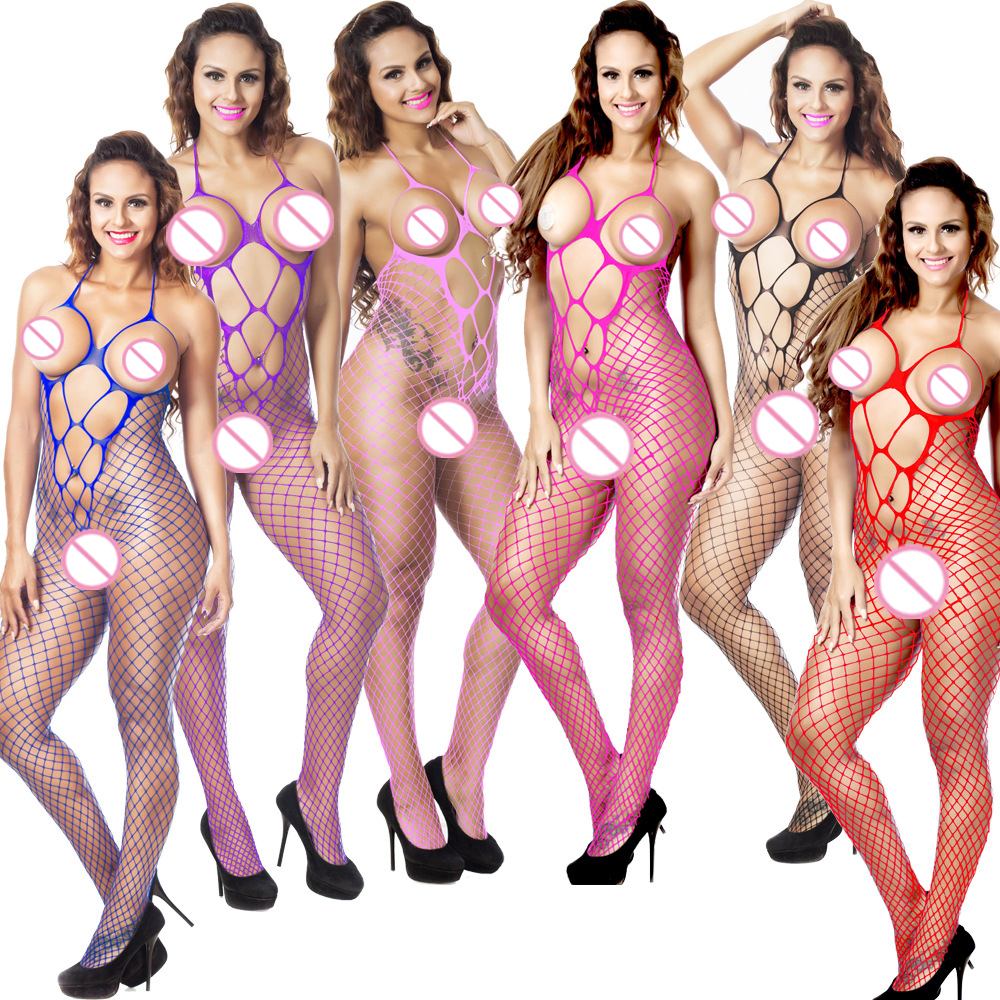 Buy new hollow black Open Crotch Stockings mesh fishnet sexy lingerie hot open crotch Sexy costumes exposed bust erotic Lingerie 733