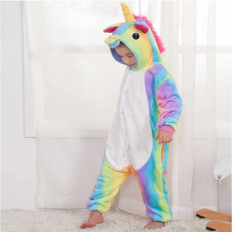 901664570e ... Kids Pajamas Unicorn Winter Cartoon One-pieces Animal Pyjama Flannel  Nightgown Children Girls Blanket Sleeper