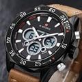 2016 Relojes de Moda Los Hombres de Cuero Correa de Los Hombres del Reloj de Cuarzo Horas Analógico Digital LED Reloj de Pulsera Deportivo Militar relogio masculino