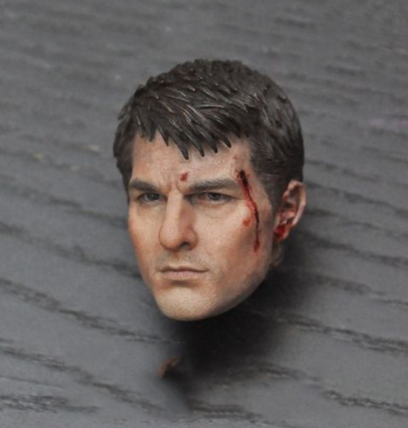 1/6 Scale Edge of Tomorrow Tom Cruise Head Carved Battle Damaged Head Model die shi spot burning the soul of a model burns 1 6 head carved figures are base contains mask