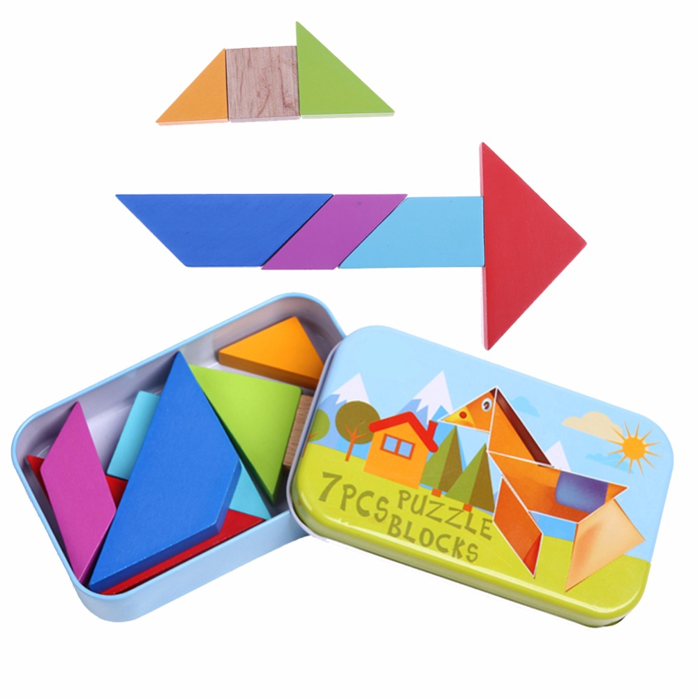 Iron Box Classic Geometric Shape Tangram Wooden Puzzle Wooden Jigsaw Puzzle Kit Children Tangram Puzzle Toys