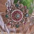 Auspicioso Ano Novo hijab Broche Pin Up CZ Zircon Cristal joias turco Presentes Delicados Broches de boda alfileres Medalhão Flutuante