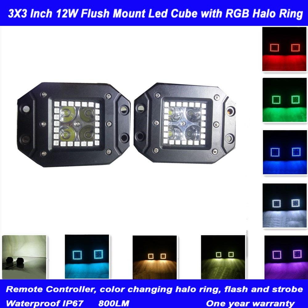 Honzdda 12ВТ Сид RGB гало кольцо заподлицо светодиодные работа света 12V Цвет меняется беспроводной пульт дистанционного управления для бездорожья внедорожник 4WD из светодиодов Противотуманные фары