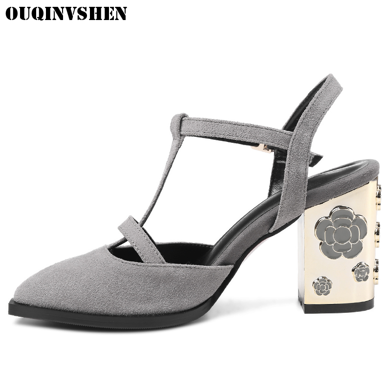 OUQINVSHEN T Strap Sandals Pointed Toe High Heels Sandals 2017 Women Large Size Casual Fashion Summer Square Head Ladies Sandals shoesofdream women s leisure 2015 opened pointed toe zip casual gladiator summer large size high heels eu size 34 46