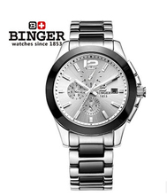Binger Low Price Sale Top quality Sapphire Watches Steel Ceramic White Dial Automatic Men Watch Mens