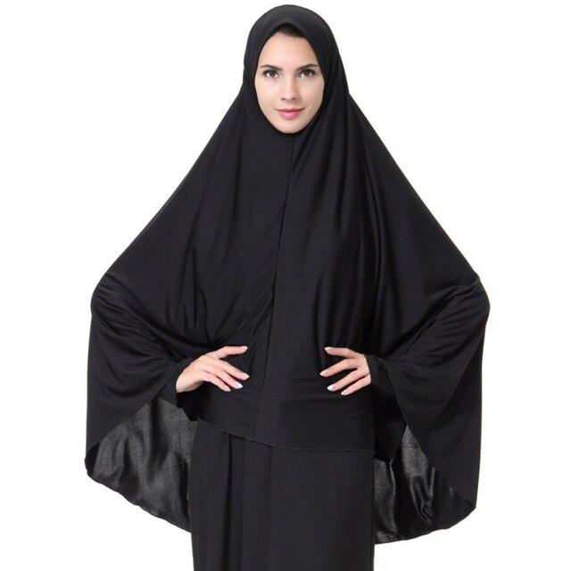 b972af5fb889 Donne Nero Viso Della Copertura Abaya Islamico Khimar Vestiti Musulmani  Foulard Robe Kimono Istante Lungo Hijab