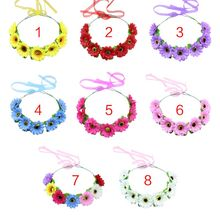8 Colors Women Girl Korean Style Artificial Multi Layers Sunflower Headband Sweet Candy Color Beach Travel Photo Props Headpiece