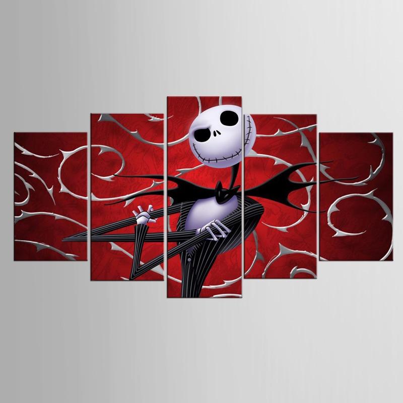 액자 5 개 추상 크리스마스 이브 시리즈 풍경 캔버스 그림 아트 HD 인쇄 그림 캔버스 작품 홈 장식