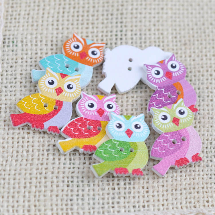 Wooden Decorated Buttons 20 per pack **NEW**  OWLS